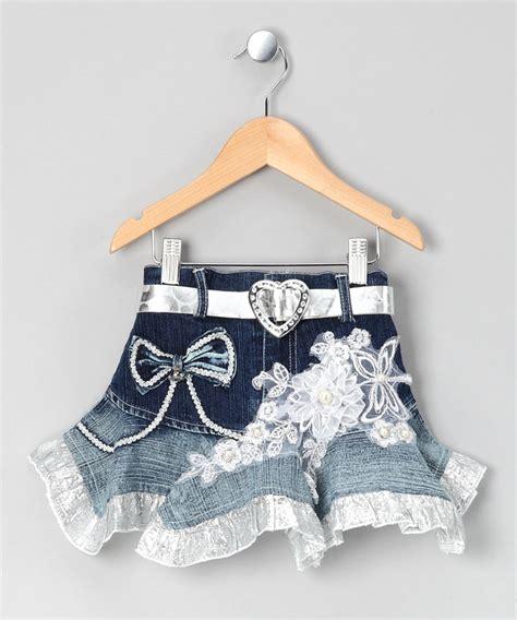 silver denim embroidered ruffle skirt toddler