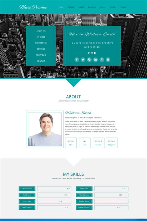15 Premium Muse Personal Website Templates Muse Website Templates