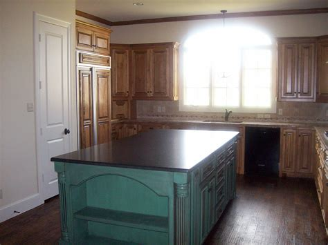 teal kitchen island faux finished kitchen island rick robinson builders