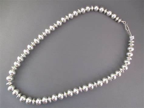 silver bead sterling silver navajo pearls bead necklace jewelry by