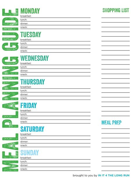printable meal prep planner meal planning grocery shopping and food prepping for the