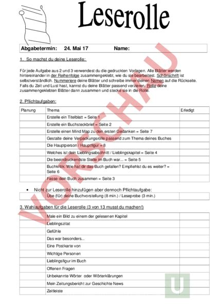 Ausführlicher Lebenslauf Vorlage Für Schüler Www Unterrichtsmaterial Ch Lesefertigkeit Leserolle Arbeitsbl 195 164 Tter