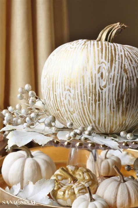 gold pumpkin centerpieces gilded faux bois pumpkin sand and sisal