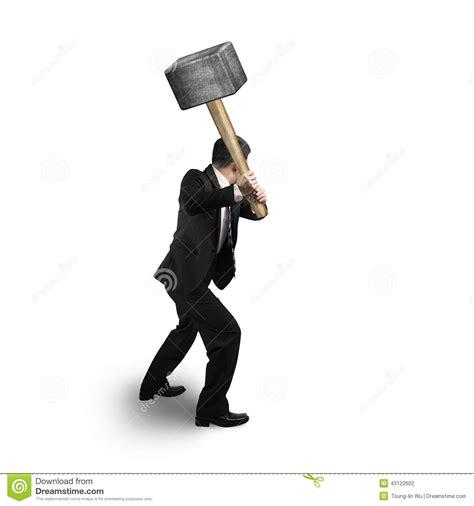 bighammer com businessman holding big hammer stock illustration image