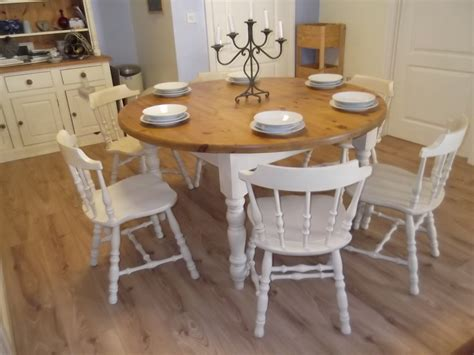 vintage large round farmhouse table and 6 oak chairs sold moonstripe