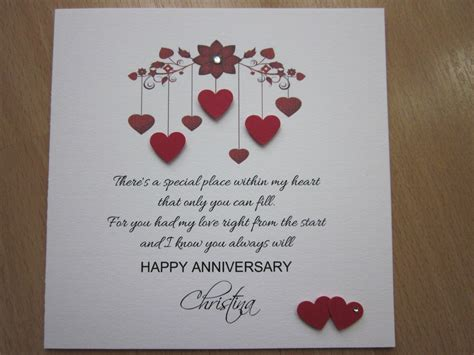 Handmade Cards For Husband - a beautiful personalised handmade anniversary engagement