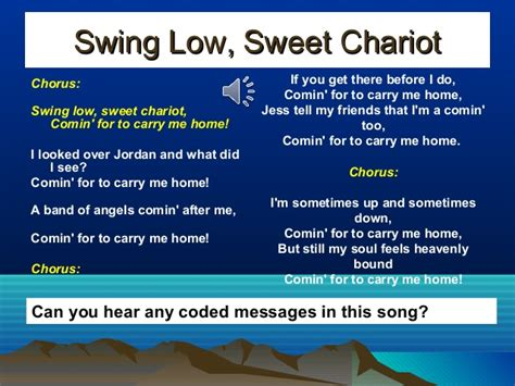 swing low sweet chariot meaning slavery music