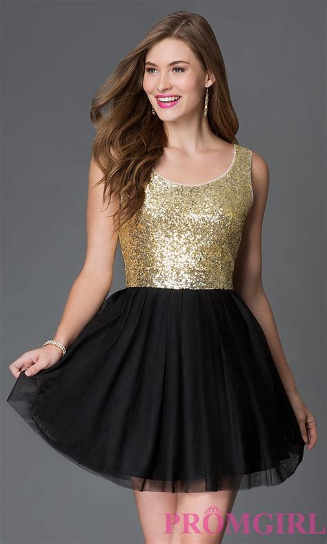 Black Fold Dress by Sequined A Line Sleeveless Dress Promgirl
