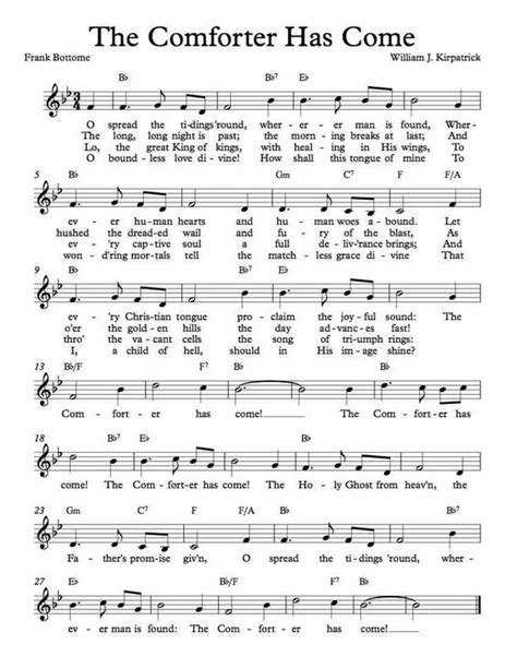the comforter has come hymn lyrics sheet music the o jays and free sheet music on pinterest