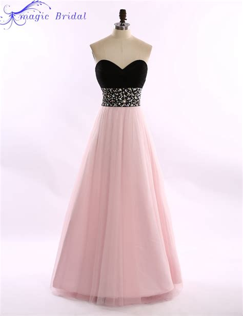 top black and pink strapless sweetheart tulle prom dresses cheap long evening dress rhinestones