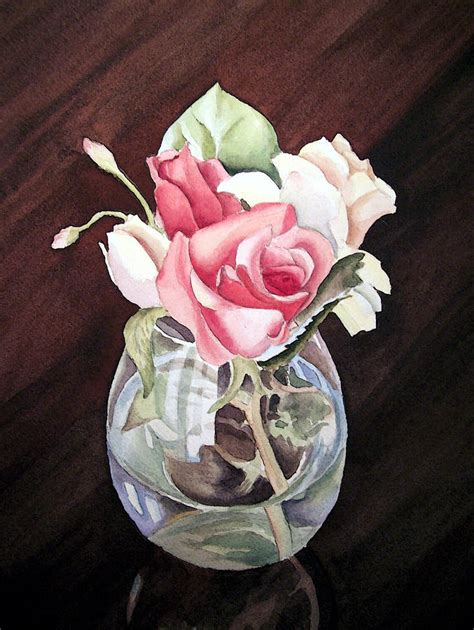 Roses In Glass Vase by Roses In The Glass Vase Painting By Irina Sztukowski
