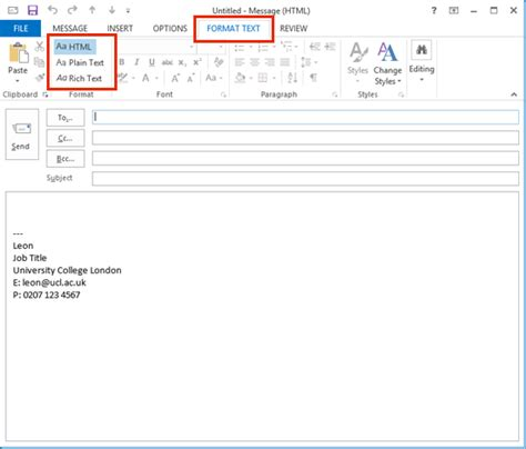format html or text send emails in html or plain text in outlook 2013