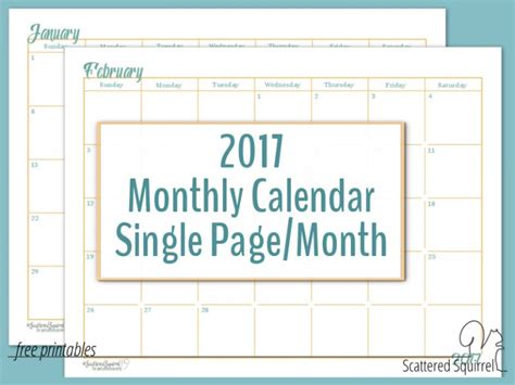 printable calendar scattered squirrel free printable 2017 calendars free calendar 2017 calendar