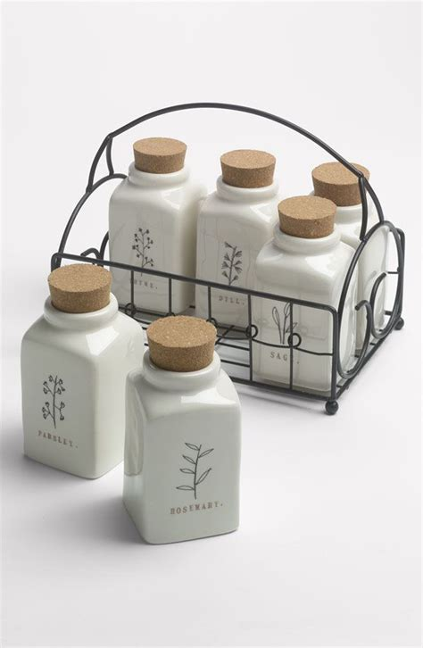Country Kitchen Canisters rae dunn by magenta herb jars amp wire caddy pinterest