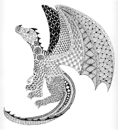 pattern drawing dragon zentangle dragon by kiuslady on deviantart