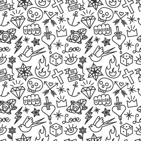 tattoo pattern vector tattoo seamless pattern stock vector 169 yellowpixel 74108735