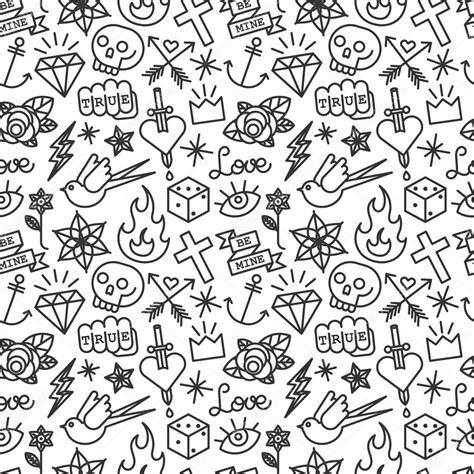 seamless pattern tattoo tattoo seamless pattern stock vector 169 yellowpixel 74108735