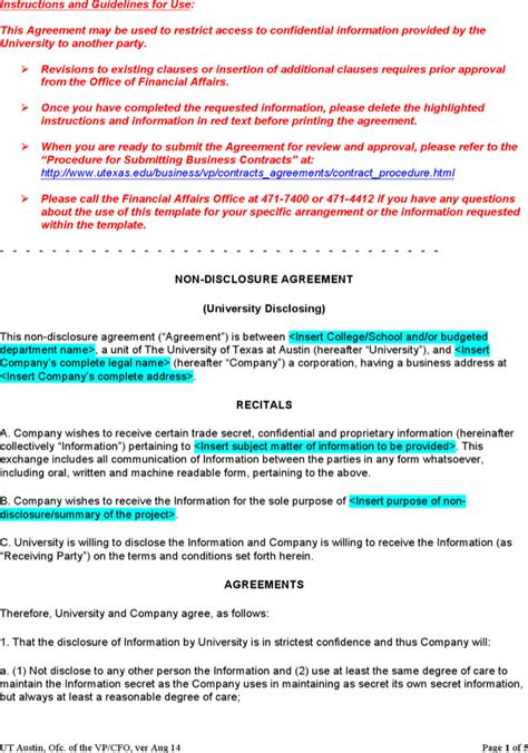 mutual non disclosure agreement form download free