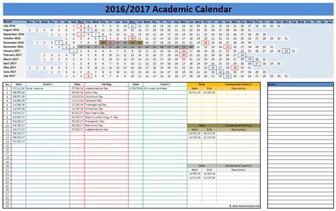College Calendar 2016 2017 School Calendars Excel Calendars