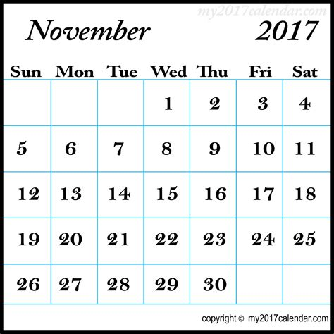 november 2017 calendar template printable monthly calendars