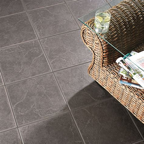 1 floor tiles cuba anthracite floor tiles 9 pack at homebase co uk