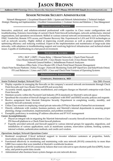 security manager resume format information technology resume exles
