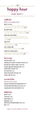 red wine happy hour menu bar menus