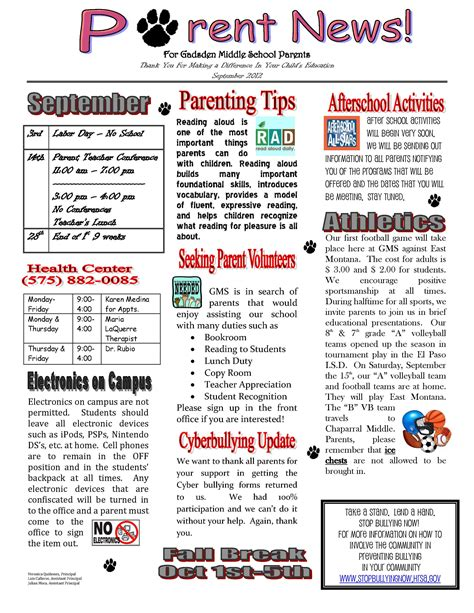 parent newsletter templates exle of school newsletter yahoo image search results