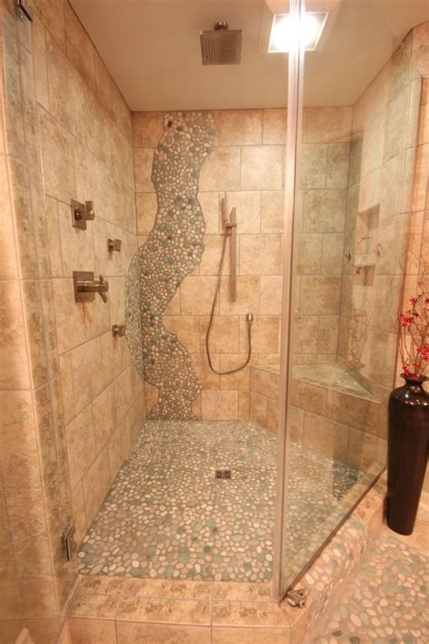 Bathroom Rock Tile Ideas Contemporary Master Bathroom With Frameless Showerdoor By
