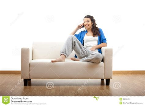 couch call happy phone call stock images image 10049474