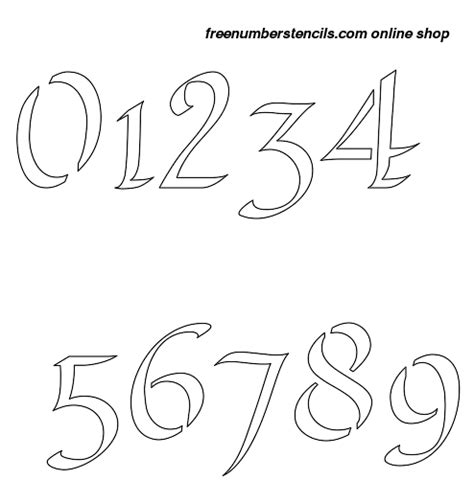 printable calligraphy number stencils 1 inch longhand calligraphy calligraphy style number