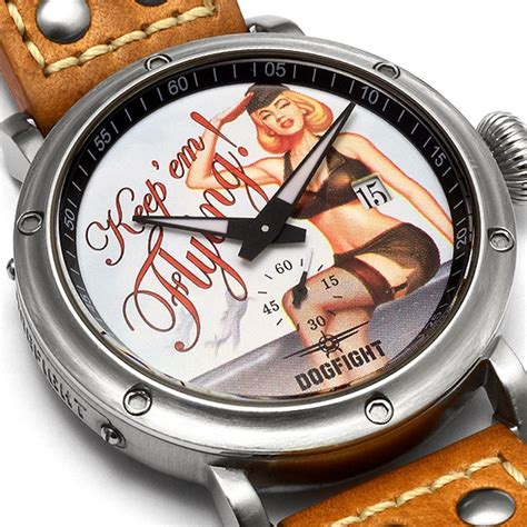 Swiss Army Doubleclock Lightbrown dogfight pin up mens light brown leather df0040