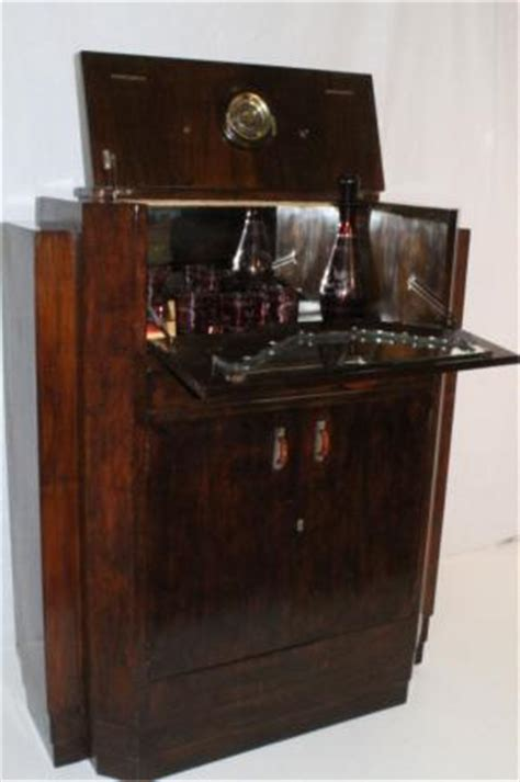Pop Up Bar Cabinet Deco Walnut Pop Up Bar Liquor Cabinet Circa 1940s