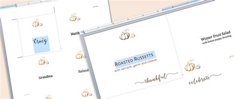 Waste Not Paper Place Card Template by Free Printables Customizable Thanksgiving Table Cards