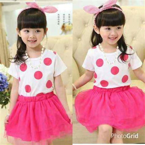 Dress Anak Terbaru Baju Ulang Tahun Anak Murah Baju Pesta Anak setelan baju dress polkadot pink anak perempuan model