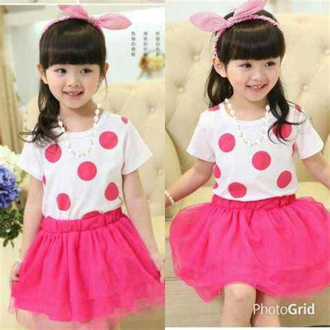 Polkadot Dress Anak Perempuan Baju Cewek Lucu Gaun Pesta Dres setelan baju dress polkadot pink anak perempuan model terbaru murah