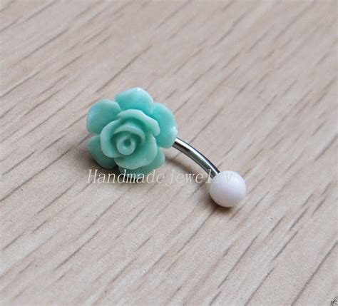 Handmade Button Jewellery - 2pcs handmade flower belly button jewelry bellybutton