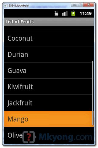 android list view android listview exle mkyong
