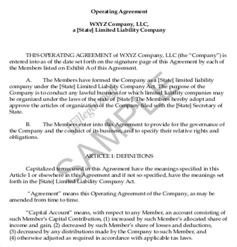 free operating agreement template for parnership llc no card needed operating agreement template 10 free word pdf document