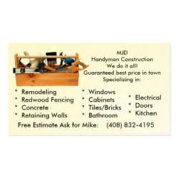 handy business cards handy construction business card zazzle