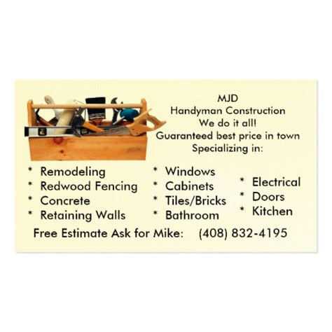 handy man construction business card template