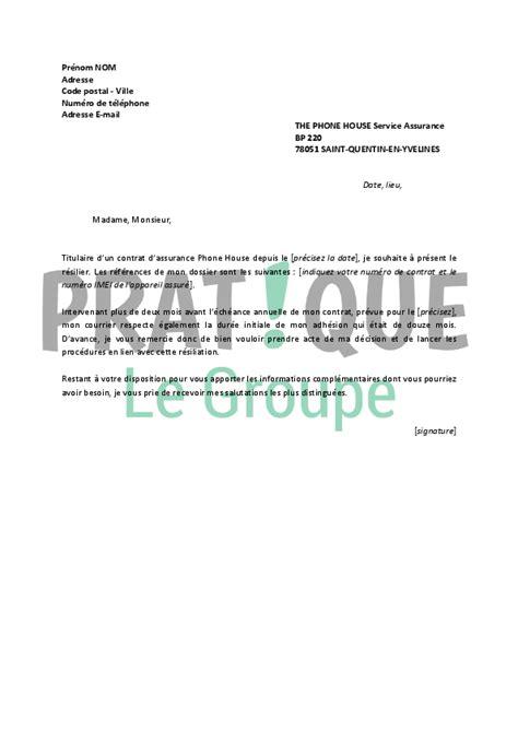 Lettre De Résiliation D Une Assurance Modele Lettre Gratuite Resiliation Assurance Document