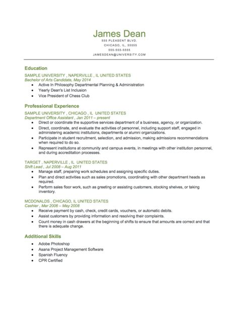 exle of a student level chronological resume