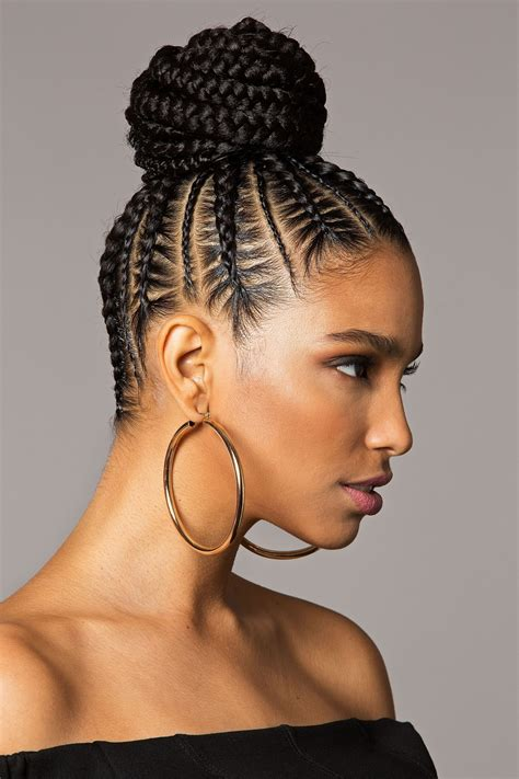 braided styles to the scalp with a bun photo gallery of scalp braids updo hairstyles viewing 5