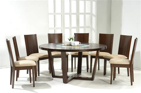 Dark Walnut Modern Round Dining Table W Glass Inlay 8 Seater Round Dining Table Singapore