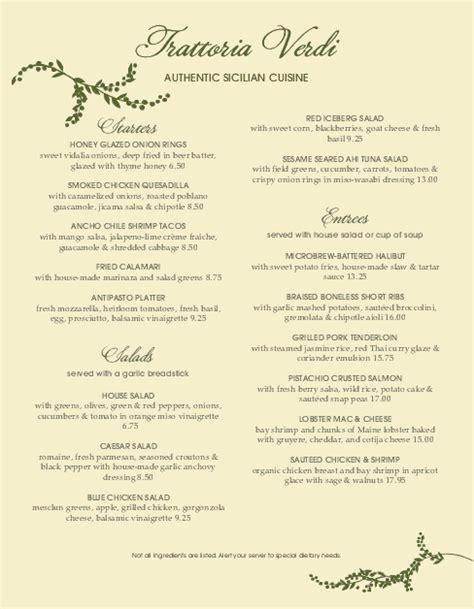 italian dinner menu template branch trattoria italian menu italian menus