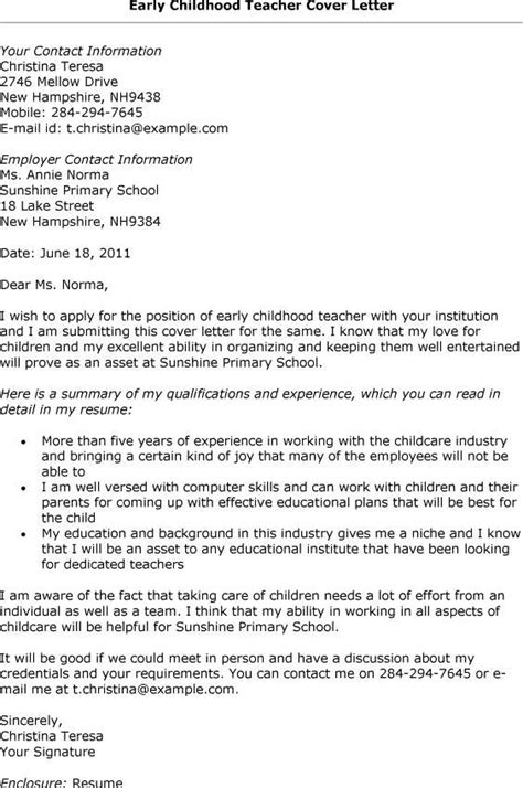 early childhood cover letter how to write a cover letter for early childhood education