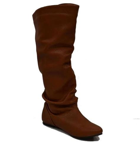 womens brown knee high slouch boots flats lining slip on