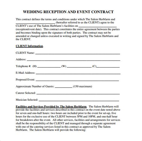 wedding contract template wedding contract template 24 free documents