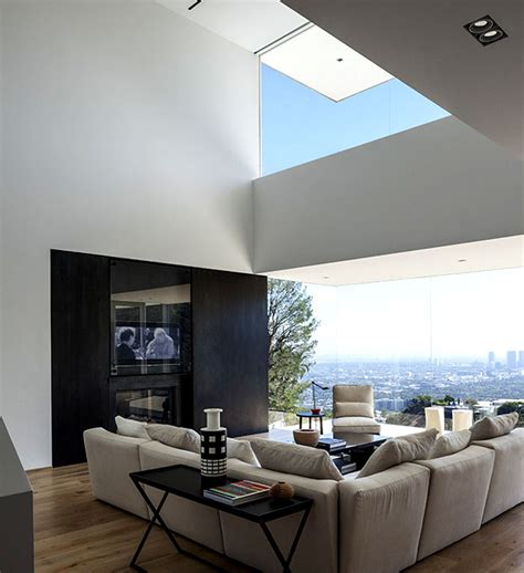 double height living room contemporary residence on the edge of sunset plaza drive